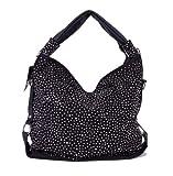 ROSENROT Trendy Glitzer Tasche Handtasche Shopper XL mit Strass aktuelle Kollektion Farbauswahl (Schwarz)