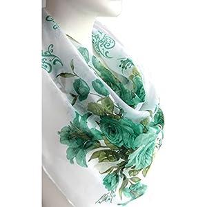 Weiß Grün Elegant Schal Weiche Baumwolle Große Quadratische Blumendruck Kopftücher Halstücher 96 x 96 cm. Frühling Sommer