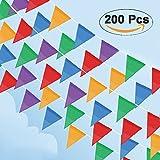Cookey 200 Pcs Multicolor Bandera Banderín, 100M Nylon Tela Decoraciones Banderas Para Fiesta Gran Apertura de Fiestas y Picnic Patio