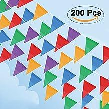 Cookey 200 Pcs Multicolor Bandera Banderín, 100M Nylon Tela Decoraciones Banderas Para Fiesta Gran Apertura