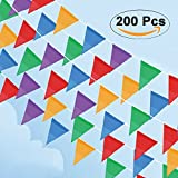 Cookey 200 Pcs Multicolour Pennant Banner, 100M Nylon Fabric Decorations Flags For Festival Grand Opening Parties and Backyard Picnics