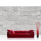 Vlies Fototapete 350x245 cm PREMIUM PLUS Wand Foto Tapete Wand Bild Vliestapete - Steinwand Tapete Steinoptik Sandstein Steine Wand 3D Steintapete grau - no. 4302