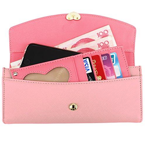 KQueenStar Portafogli per le Donne Classico in Pelle PU Portafoglio Lungo con il Supporto per le carte da credito Rosa