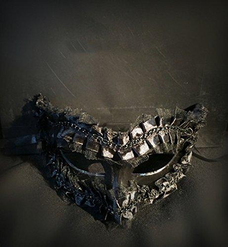 Damjic Black Diamond Lace Maske Stadium Kostüm Make-Up Party Halloween Mask (Kostüm Scary Up Make Doll)