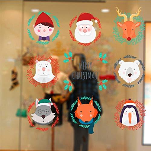 Fagreters 68X70Cm Regalo de Año Nuevo Papá Noel Elce Oso Fox Pingüino Pegatinas de pared para habitaciones de niños Dibujos animados Animal Tatuajes de pared Arte Feliz Navidad Póster