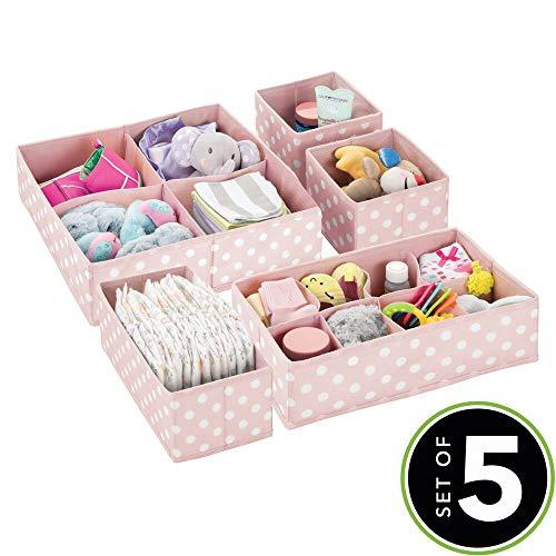 mDesign Set da 5 Scatole portaoggetti e porta giochi con diversi scomparti – Scatole per armadi ideali per organizzare gli accessori nelle camerette per bambini – rosa chiaro e bianco - 2