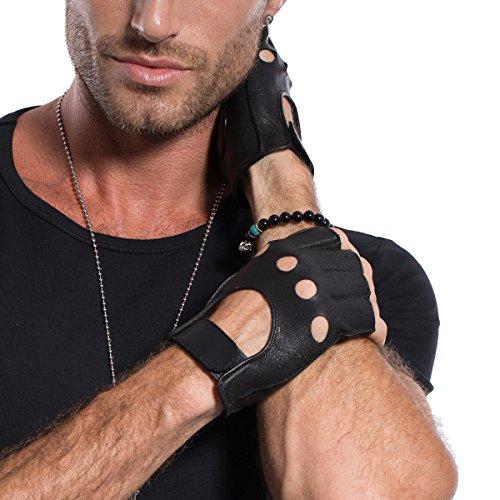 Preisvergleich Produktbild Matsu klassische Motorradhandschuhe aus Lammfell,  fingerfrei,  weich,  ungefüttert,  Klettverschluss,  schwarz,  M1078 Gr. Small,  schwarz