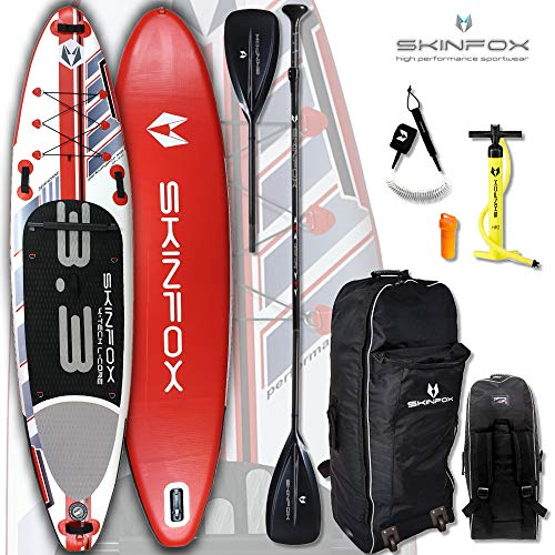 SKINFOX Seahorse aufblasbares 4-lagiges SUP Paddelboard Stand Up NEUESTE SUP Generation 4 TECH L-CORE (335x78x15/Tragkraft 175 kg) Carbon-Set rot (Board,Bag,Pumpe,Carbon SUP-/Kayak Paddel,Leash)