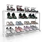 Homdox Metall Schuhregal Schuhschrank mit 4 Ablagen für bis zu 20 Paar Schuhe, ca L92 x W17 x H47cm (4 Schichten, Weiss)