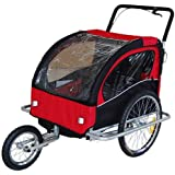 Remolque de bici para niños con kit de footing, color: rojo 502-01