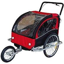 Remolque de bici para niños con kit de footing, color: rojo 502-01