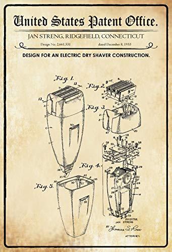 Blechschild 20x30cm Patent elektrischer Trockenrasierer 1953 Schild Tin Sign