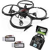 UDI U818A Drohne Aufgerüstete Version mit WiFi FPV Einstiegslevel Drone mit HD Kamera Kopflosmodus Stabile Fliege RC Quadcopter Etra Batterie