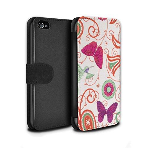 Stuff4 Coque/Etui/Housse Cuir PU Case/Cover pour Apple iPhone 4/4S / Pack 12pcs Design / Printemps Collection Rouge/Rose