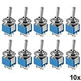 10 Stück Miniatur Kippschalter 2-polig 6 Kontakte Umschalter Lötösen Ein/Ein