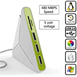 USB Hub SD Card Reader, NiceEshop(TM)5 In 1 USB Hub 3 Port And TF/SD Card Reader With Noctilucent Light For Windows XP /Win7/Win8/Win10/Mac/IOS
