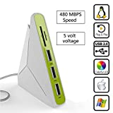 USB Hub SD Card Reader, niceEshop(TM)5 In 1 USB Hub 3 Port and TF / SD Card Reader with Noctilucent Light for Windows XP /Win7/Win8/Win10/Mac/IOS image
