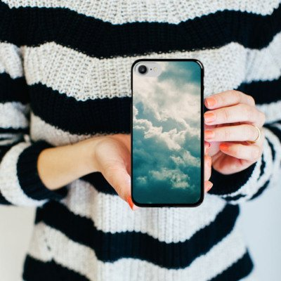 Apple iPhone X Silikon Hülle Case Schutzhülle Wolken Himmel Natur Hard Case schwarz