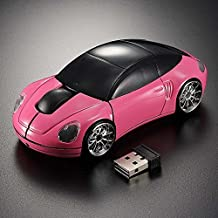 Forma de Coche Ratón Ratones de ordenador ratón inalámbrico con receptor USB (rosa)