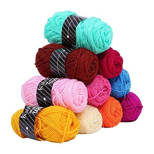 Kurelle Stickgarn Buntes Strick Garnknäuel Packung, Acryl Garn für Stricken, verschiedene Farben Wolle Set Baumwolle Perfekt für jedes Häkel und Strickprojekt - 10 Farbe 50g pro Farbe - 80 Meter