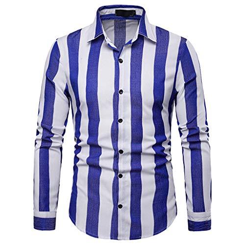UJUNAOR Männer Frühling Herbst Business Stripe Casual Revers Langarm-Shirt(Blau,CN L)