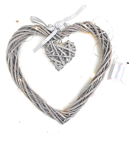 Großes Weide-Herz mit kleinen, baumelndem Herzen Beleuchtet 20LED-Lampen mit 3AA-Batterien im Lieferumfang enthalten Durchmesser: 30 - 35 cm -
