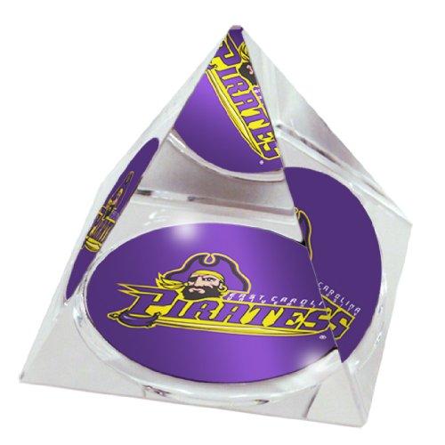 (NCAA East Carolina University Pirates Maskottchen in 5,1cm Kristall Pyramide mit bunten verglaste Geschenkbox)