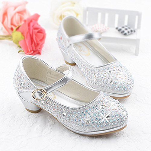 O&N Prinzessin Gelee Partei Absatz-Schuhe Sandalen für Kinder Glanz Prinzessin mit Kunstdiamond Silber