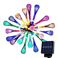 20 LED Multi Color Solar String Lights Outdoor Garden String Lights Solar Powered, Goodia 4.8M Waterproof Crystal Raindrop Decorative Lights for Garden, Terrace, Patio, Fence, Christmas, Parties 8