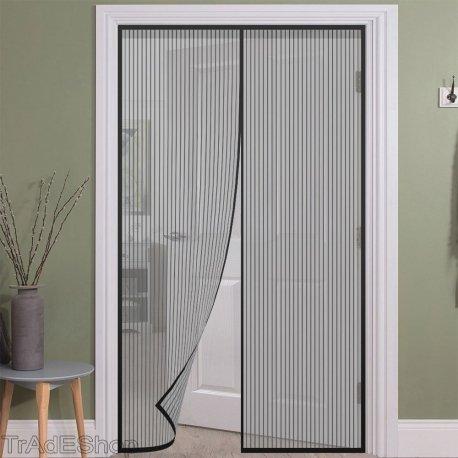 Tradeshoptraesio - zanzariera magnetica per porte 140 x 240 cm universale nera tenda zanzariera