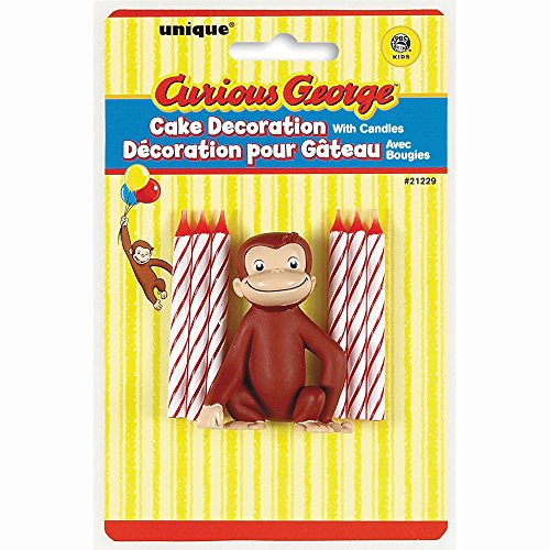 Curious George Cake Decoration with 6 Candles (George Party Curious)