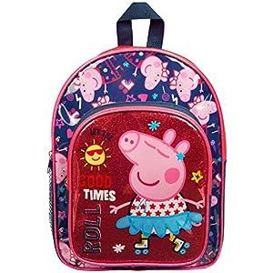 51JNk dYQEL. SS300  - Mochila Peppa Pig para Niños | para Niña con Brillo Rosado | Bolso Escolar para Niños Guardería | Bolso De Viaje para…