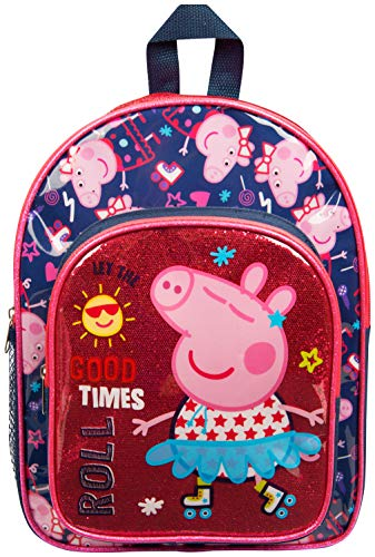 Peppa Pig Kinder Rucksack | Mädchen Rucksack Mit Rosa Glitzer, Die Perfekte Kinder Schultasche, Kindergarten Oder Vorschule Tasche | Kinder Kleinkinder Reisetasche