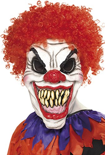 Smiffys, Herren Gruseliger Clown Maske, One Size, Weiß und Rot, (Latex Maske Clown)