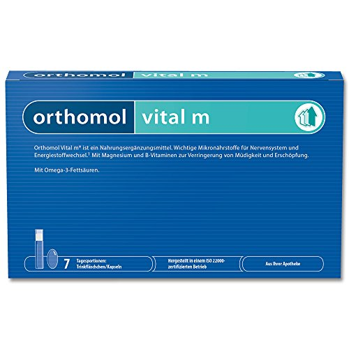 Orthomol vital m 7 Trinkampullen & Kapseln - Vitamin Komplex im Trinkfläschchen für Männer bei Müdigkeit & Erschöpfung