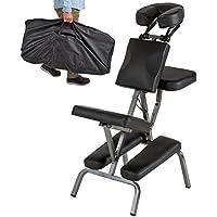 TecTake Chaise de Massage avec Sac de Transport - diverses couleurs au choix - (Noir)