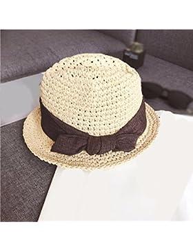 LVLIDAN Sombrero para el sol del verano Dama SolAnti-Sol Playa pescador beige Britishstyle sombrero de paja plegable