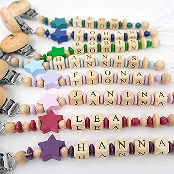 Sharlene Schnullerkette mit Wunschnamen – in verschiedene Farben