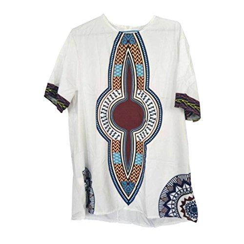 Haodasi Men Vintage African National Costumes Tribal Shirt Tradition Garments Printed Short Sleeves Dashiki