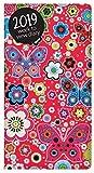 Semaine Pocket slim 2019 à vue recouvert tissu Diary - rose papillon Floral rouge