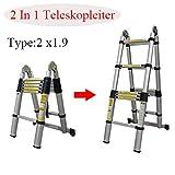 Alu Klappleiter,Hehilark Teleskopleiter Klappleiter Ausziehleiter aus hochwertigem Alu Teleskop-Design 150 kg Belastbarkeit (2x1.9m klappbar)