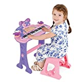 Girls Pink Musical Electronic Keyboard Kids Music Toy With Microphone, Mic Stand, Stool – MP3 Compatible – Sing Play Record – 37 Keys