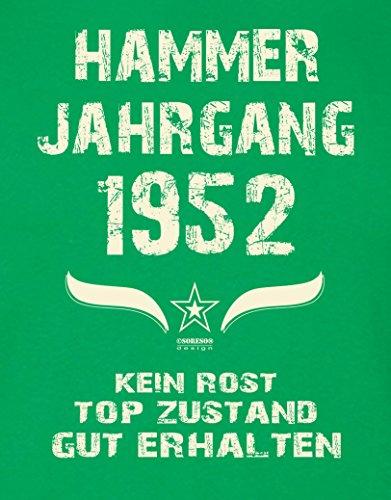 Modisches 65. Jahre Fun T-Shirt zum Männer-Geburtstag Hammer Jahrgang 1952 Ideale Geschenkidee zum Jubeltag Farbe: hellgrün Hellgrün