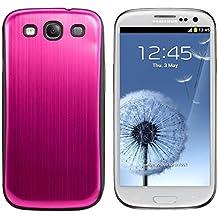 kwmobile Tapa de bateria de aluminio cepillado para el Samsung Galaxy S3 / S3 Neo rosa fucsia