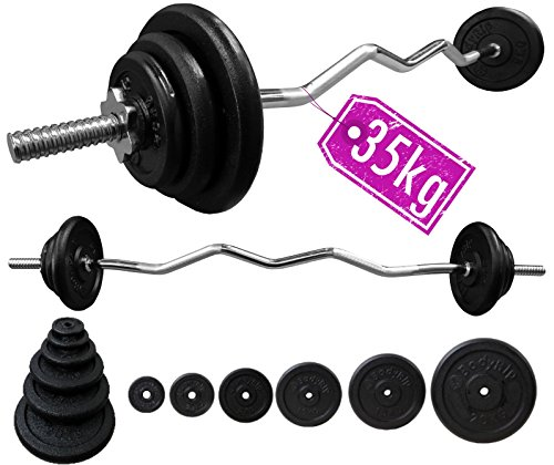 BodyRip Gusseisen Gewicht Teller Barbell Set 35kg + 2,5cm Standard 4ft EZ Curl Barbell (Gewicht Teller-set Standard)