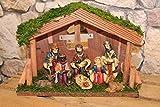 Wunderschöne KRIPPE / WEIHNACHTSKRIPPE - XXL mit 8 Figuren , feine Details und handveredelt, aufwändig mit Moos verziert - handveredelt - Breite 25 cm x Höhe 18 cm - richtig stimmungsvolle Dekoration für Herbst Winter Advent und Weihnachten