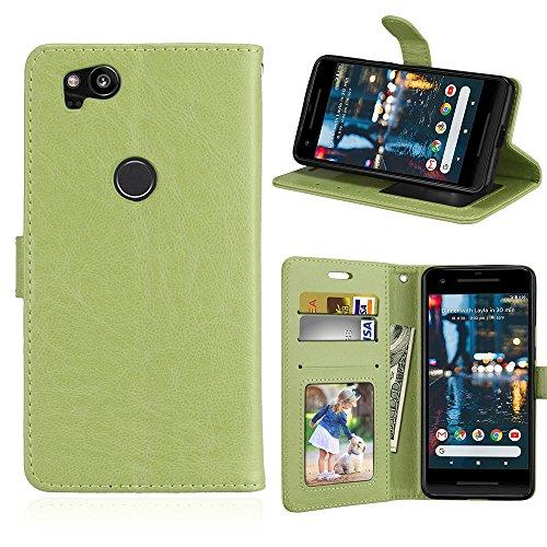 Alfort Google Pixel 2 Hülle Handyhüle, Prämie PU Leder Schutzhülle Stilvolles Lederhülle für Google Pixel 2 Smartphone Handy Tasche Wallet Flip Case Cover mit Karten Steckplatz (Grün)