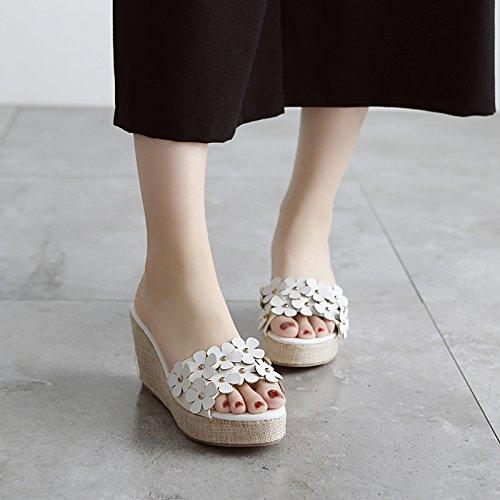 GTVERNH-estate bianco 7.5cm scarpe suihua pendio con con una suola spessa pantofole carino va incontro a bocca di pesce sandali le scarpe,36 Thirty-nine