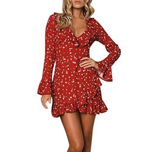 KaloryWee Dresses Damen Sommer Rüschen Floral Long Sleeve Dot Print V-Ausschnitt Sexy Kurz Mini Kleid, Rot, Label Size L