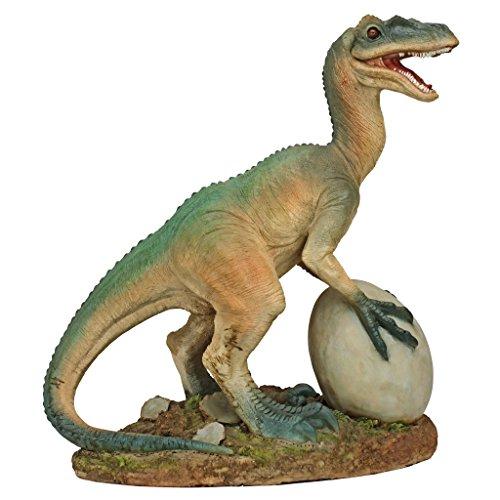 diseno-toscano-the-egg-beater-raptor-dinosaurio-estatua-marron-verde